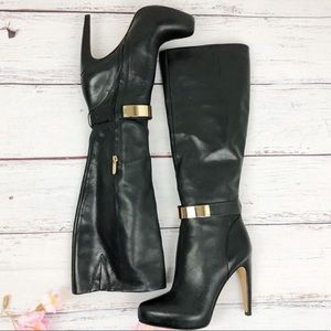 SAM EDELMAN Klara black leather tall boots 8
